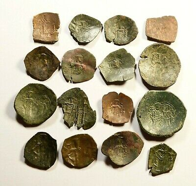 Lot Of 15 Ancient Byzantine Cup Coins - 065