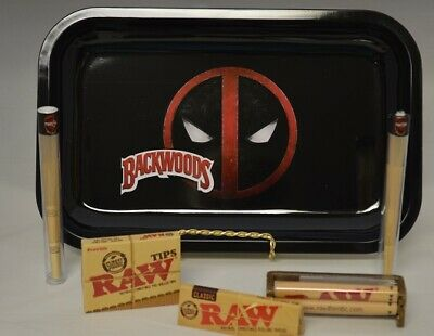 11x7 Deadpool Rolling Tray Bundle w/ Raw Roller *Paper *Tips & 4 Twister Wraps
