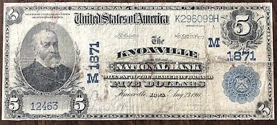 1902 $5 Knoxville National Bank of Iowa Large Size National