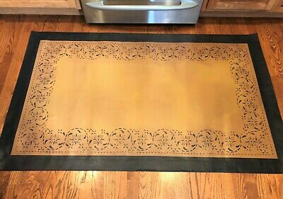 "Floorcloth 4'x6, ""SERENADE"", Beautiful Hand Painted Primitive Colonial Area Rug"