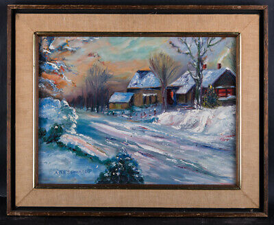 """Vintage American Impressionist Original Oil Painting On Canvas """"Road In Winter"""""""