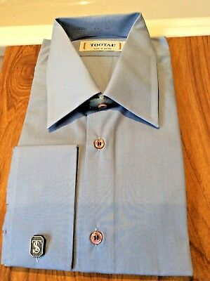 BNIB Tootal 1970's Air Force blue big collar smart/ casual shirt polycotton 17""