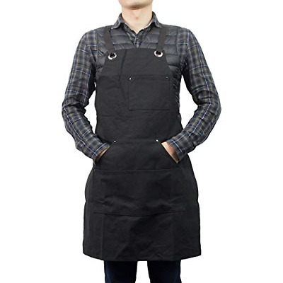 Heavy Duty Waxed Canvas Work Apron Garden Apron with Tool Pockets Durable Shop M