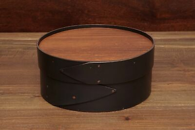 "Black Shaker 8"" Round LeHay Needlework Box"