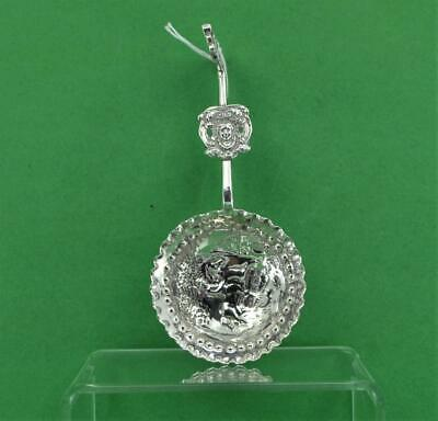 Sterling Silver Caddy Spoon Maurice Freeman  Dutch Style Devils Head terminal