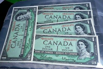 1954 *B/M ASTERISK Replacement 4 in ROW GEM UNCIRCULATED . BANK OF CANADA