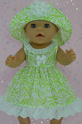 """Play n Wear Doll Clothes To Fit 17"""" Baby Born  WHITE/LIME FLOWER DRESS~HAT"""
