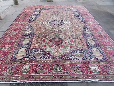 Old Hand Made Traditional Persian Rug Oriental Wool Blue Large Carpet 380x290cm