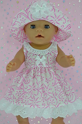 """Play n Wear Doll Clothes To Fit 17"""" Baby Born  WHITE/CANDY PINK FLOWER DRESS~HAT"""