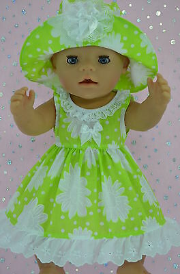 """Play n Wear Doll Clothes To Fit 17"""" Baby Born  LIME/WHITE FLOWER DRESS~HAT"""
