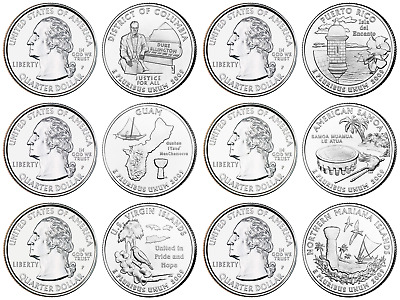 TERRITORIES QUARTER COMPLETE 6pc SET UNCIRCULATED 2009 WASHINGTON D.C.AND U.S