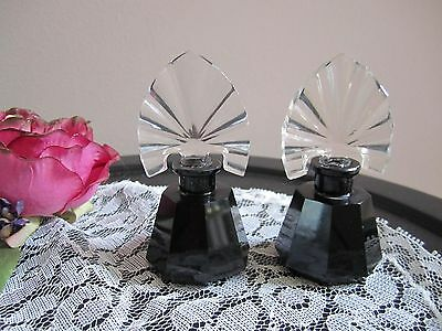 Pair Of Black & Clear Czech Perfume bottles - Acid Marked