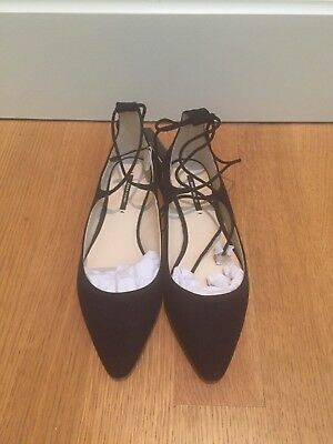 87417fc1c ZARA BLACK LEATHER Lace-Up Pointy Ballerina Flats Sandals 37 6.5 ...