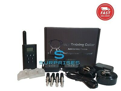 Dog Pet Electric Shock Training 2 Collar Rechargeable Waterproof 330 Yard Remote
