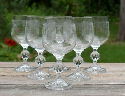 """Set of 6 Bohemian CRYSTAL Faceted Stems """"CASCADE"""" Floral WINE GOBLETS Glasses"""