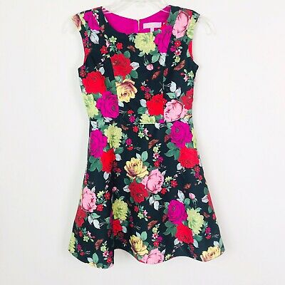 9d4654273 Baker by Ted Baker Girls Dress Size 12 Black Pink Red Floral Print  Sleeveless
