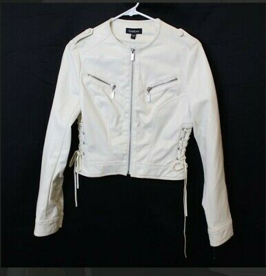 New Drop-Dead Gorgeous Bebe Leather Lace Up Riding Jacket White Small Nwt