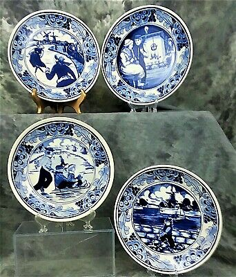 Delft Pottery & China @ Perfect @ Porceleyne Fles Handpainted Delft Plate Worldjourney Submarine 1935