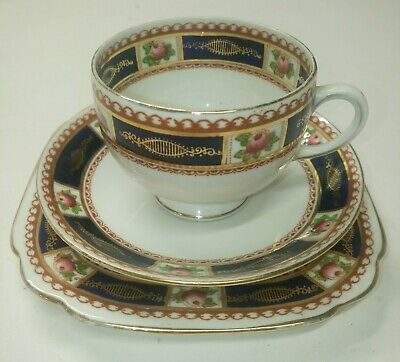 ROYAL ALBERT: Vintage 'TRIGO' Tea Cup Saucer and Square Plate