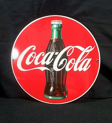 Vintage Heavy Porcelain Metal Coca Cola Coke Advertising Sign LOOK & READ a