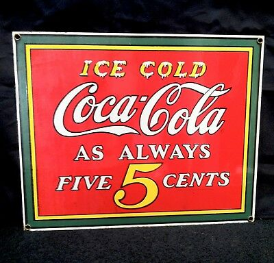 Vintage Heavy Porcelain Metal Coca Cola Coke Advertising Sign LOOK & READ