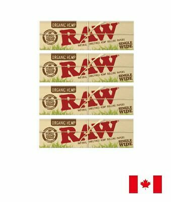 RAW Organic Single Wide Natural Unrefined Rolling Paper (Single Window) 4 Packs