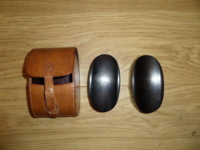 Real Ebony Antique Set 2 x Wooden Clothes Brush Brushes in Tan Real Leather Case