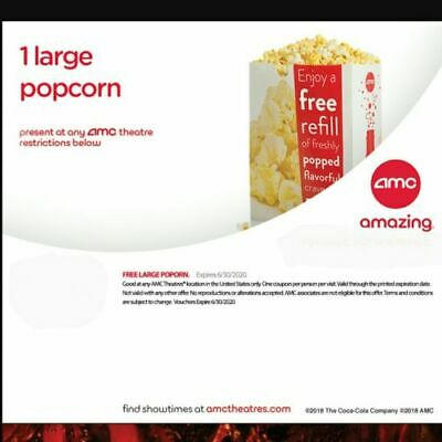 DELIVERY BY MAIL - AMC Theatres 1 LG Fountain Drink & 1 LG Popcorn Exp 6/30/20