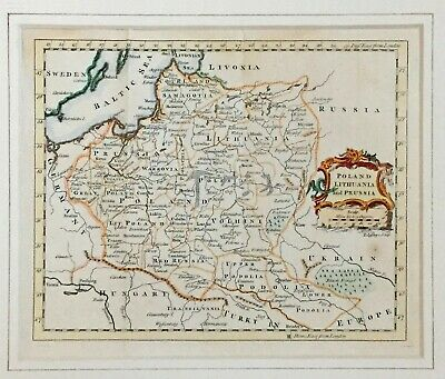 Antique Map Hand Colored Poland Lithuania and Prussia