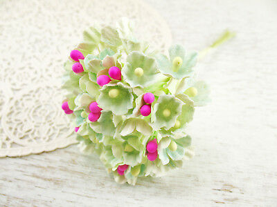 Vtg Style Green Blue Forget Me Nots Paper Flowers Bunch Craft Easter Mini DIY