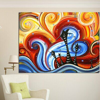 Colourful Retro The World of Dreams Canva Painting No Frame Wall Display F2