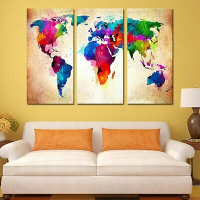 11045 3 Colorful World Map B Frameles Painting Canvas Painting Decoration F2
