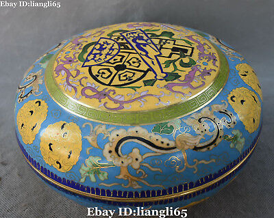 China Cloisonne Emaille Vergoldete Ancient Dragon Beast Casket Box Fall Statue