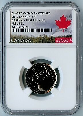 2017 Canada Ngc First Releases Ms67 Pl Classic Can. Coin Set Caribou Quarter 25C