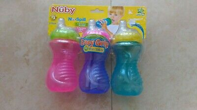 Nuby No Spill Easy Grip 10 Oz Sippeez Trainer Cups Soft Flex Spout 3 Pack New