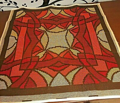Vtg Mid Century Rug Latch Hook Canvas Cathedral Stained Glass Design 43 x 42