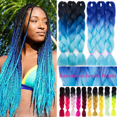 US 24'' Jumbo Braiding Hair Extensions Ombre Blue Kanekalon Afro Braids as Human