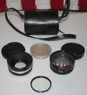 Yashica Yashikor Aux. Telephoto 1:4 + Wide Angle Kenko Filter + Case Camera Lens