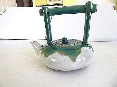 Antique Japanese Awaji glazed Pottery Arts & Crafts Green teapot w handle