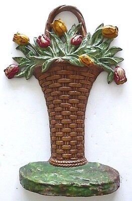Rare original antique 1940's cast iron Tall Tulips Basket doorstop, Hubley 13""
