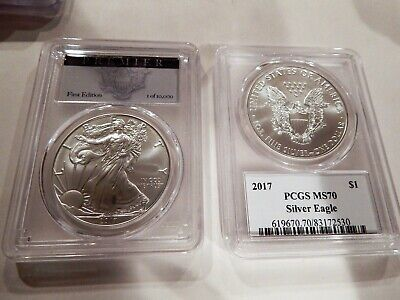 2017 American Silver Eagle Pcgs Graded Ms70