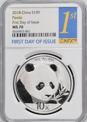 2018 NGC MS70 China S10Y Panda - First Day of Issue - Super Nice!