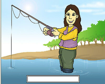 Fishing Female 2 Cartoon Character Personalized Matted Print  Product is 11 x 14
