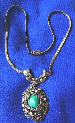 Vintage Ornate Brass Pendant Necklace Lavalier Green Cabochon Seed Pearls Leaves