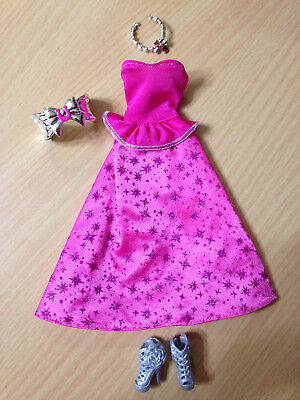 Barbie Doll Fashionistas Pink Star Evening Gown Dress & Flower Shoes Outfit Lot