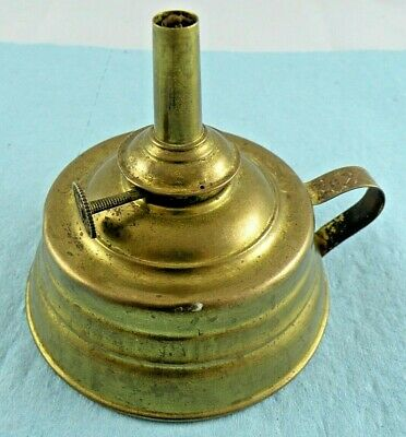 Antique Vintage E Miller & Co Made in USA Metal Finger Whale Oil Lamp