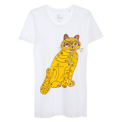 ABBA New Official Merchandise - Yellow Cat T-Shirt - Ladies L - Brand New
