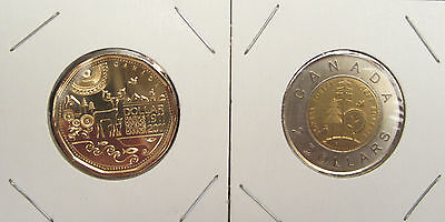 2011 100th ANNIVERSARY THE PARKS OF CANADA $1 LOONIE & $2 TOONIE 2 UNC COINS