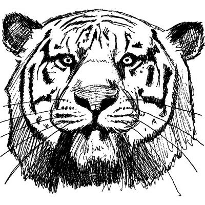 RS00018270 A8 /'Tiger Face/' Unmounted Rubber Stamp