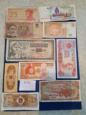Nice old 9 Bank Note Currency Money lot bundle mix world collectable earth $ B56